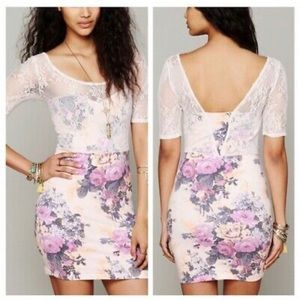 Free People Lace Sleeve Pink Floral Bodycon Dress
